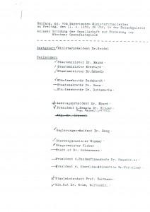 Gästeliste zum Gründungsempfang 1958, Seite 1