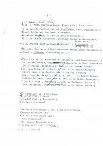 Gästeliste zum Gründungsempfang, Seite 2